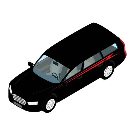 Isometric high quality city transport car icon black passenger station wagon car.