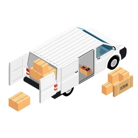 White minivan cargo delivery van deliver cardboard boxes isolated on white