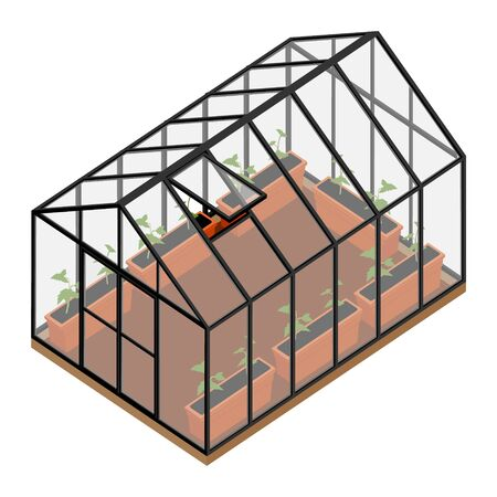 Greenhouse at an organic farm. Stock Illustratie