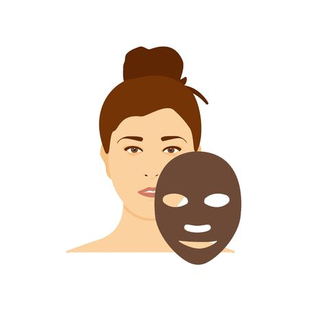 Woman apply charcoal brown mask on her face isolated on white background Illustration