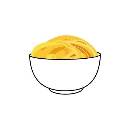 Tasty appetizing classic Italian spaghetti pasta in a bowl isolated on white Иллюстрация