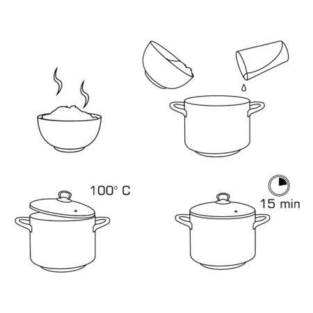 How to cook rice with few ingredients easy recipe. Instruction on rice making process for breakfast. Hot bowl with tasty food.