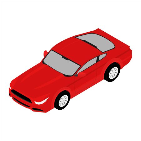 Red sport car isometric view. Generic car. Sport car isolated on white