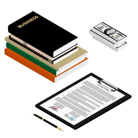 Contract agreement concept stack of money, business books, contract and pen isometric view