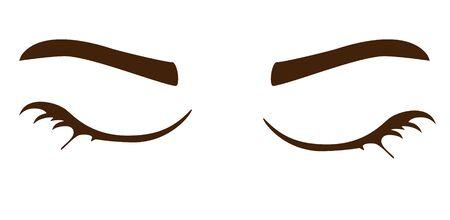 Black eyelashes and eyebrows design element