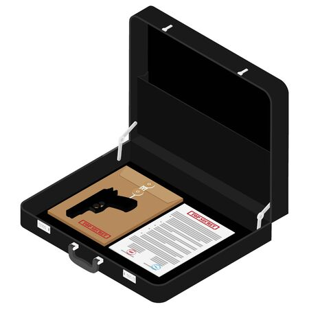 Black briefcase with top secret documents and gun isometric view
