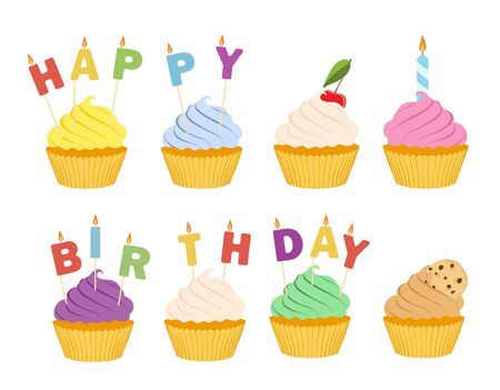 Tasty cupcakes isolated on white background.  Happy birthday greeting card