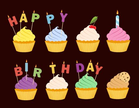 Tasty cupcakes isolated on brown background.  Happy birthday greeting card Illustration