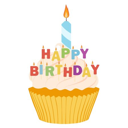 Tasty cupcake isolated on white background.  Happy birthday greeting card