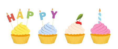 Tasty cupcakes isolated on white background.  Happy birthday greeting card Imagens - 131858284