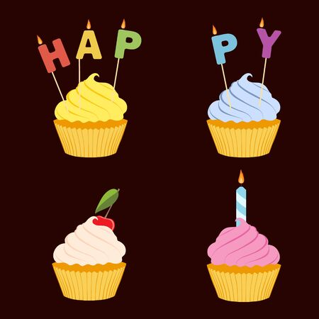 Tasty cupcake isolated on brown background.  Happy birthday greeting card