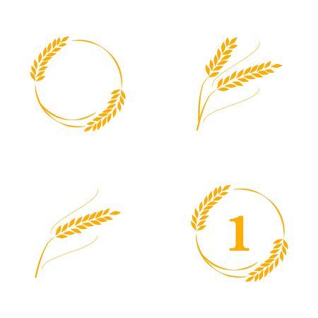 Símbolos para el diseño de trigo. Agricultura, maíz, cebada, tallos, plantas orgánicas, pan, cosecha natural de alimentos