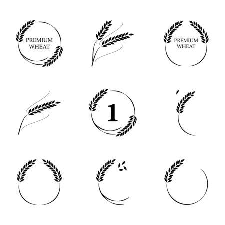 Symbols for   design Wheat. Agriculture, corn, barley, stalks, organic plants, bread, food natural harvest