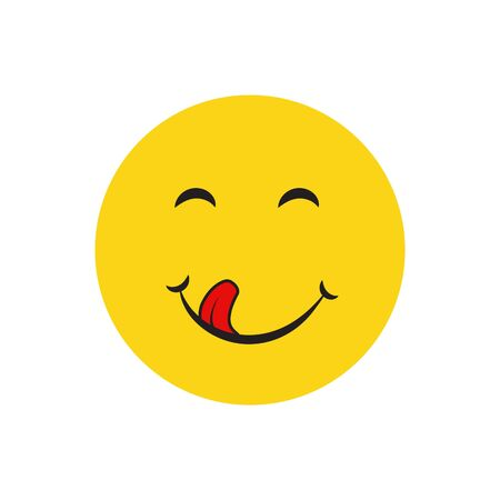 Yummy smile cartoon line emotion with tongue lick mouth. Delicious tasty food eating emoji face on yellow design background Ilustrace