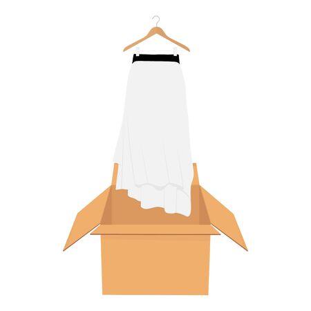 White elegant skirt on hanger. Shopping sale concept.