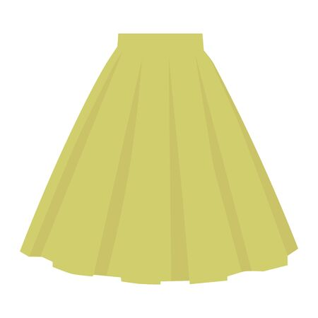 Vector green skirt template, design fashion woman illustration. Women bubble skirt