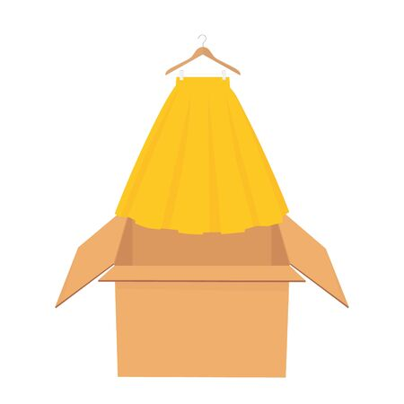 Yellow elegant skirt on hanger. Shopping sale concept. Illusztráció