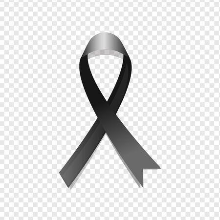 Black awareness ribbon on transparent background. Mourning and melanoma symbol