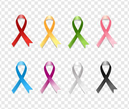 Realistic Colorful Awareness Ribbons Design Element Emblem Sign Symbol. Various Colors on Transparent Background Illusztráció