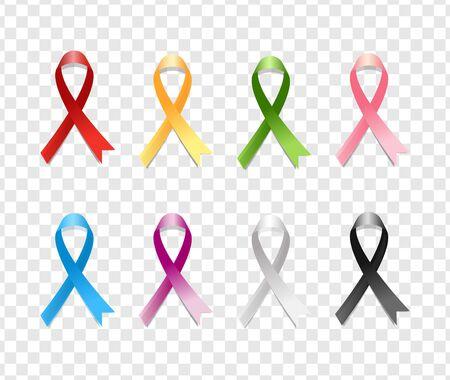 Realistic Colorful Awareness Ribbons Design Element Emblem Sign Symbol. Various Colors on Transparent Background Çizim