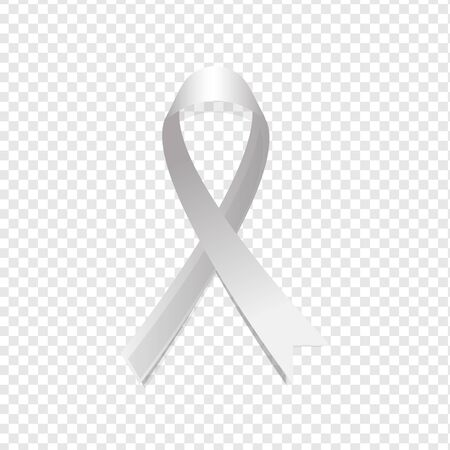 Realistic grey ribbon  isolated on transparent background. Brain cancer awareness