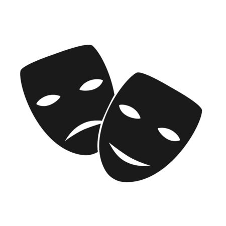 Theatre masks vector icon. Art. Drama,tragedy and comedy