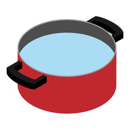 Water in red pan, cooking pot. Cooking concept. Stok Fotoğraf