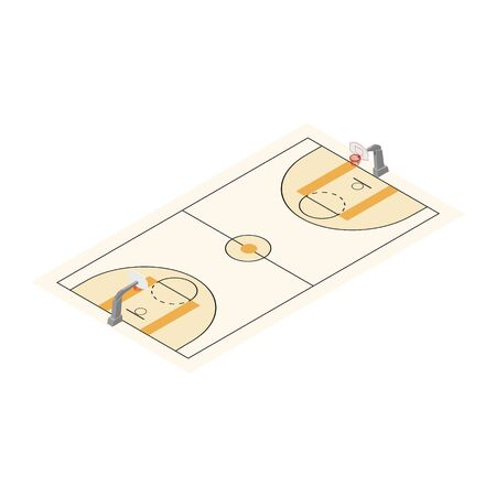 Basketball field arena isometric view. Basketball game match concept