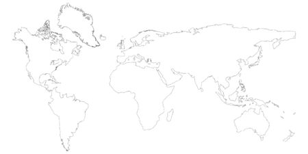 World map raster isolated on white background. Flat Earth, map template for web site pattern, anual report, inphographics. Globe similar worldmap icon. Travel worldwide, map backdrop