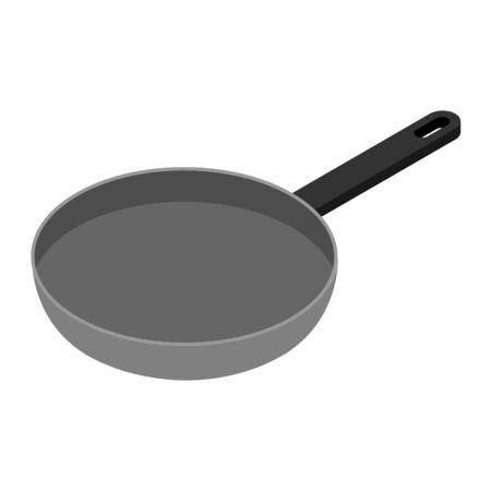 Frying pan isometric view isolated on white background