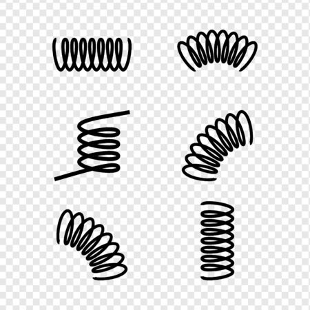 Black silhouette of spring icon set, collection isolated on transparent background. Metal spiral flexible wire elastic Stock fotó