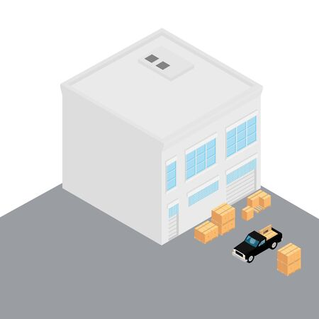 Isometric perspective building icon. Workshop, black car and stack of boxes city element
