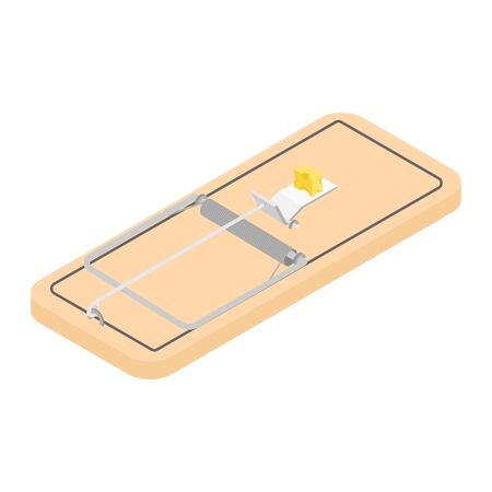 Mousetrap with piece of cheese isolated on white background isometric view.