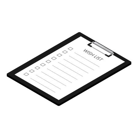 raster illustration black clipboard with wish list paper isolated on white background isometric view.