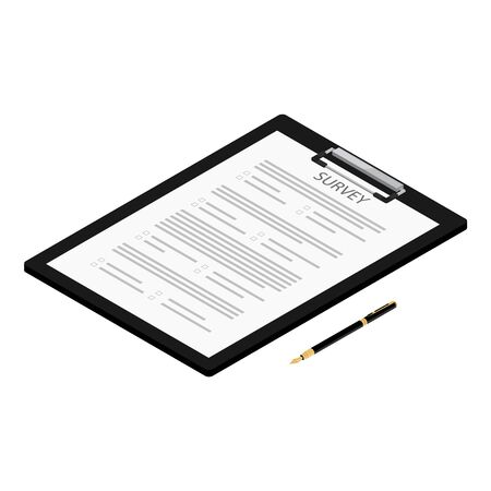 Isometric pen and survey on black clipboard isolated on white background. Survey icon