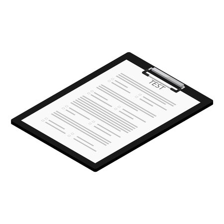 raster illustration isometric test, exam paper on clipboard. Exam, or survey concept icon. School test. School exam. 스톡 콘텐츠 - 131854574