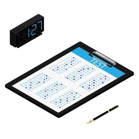 Test, exam paper on clipboard, digital clock and pen isometric view. Exam, or survey concept icon. School test. School exam. Zdjęcie Seryjne