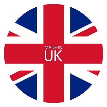 Made in icona del Regno Unito. Bandiera degli Stati Uniti di Gran Bretagna realizzata in segno, simbolo Archivio Fotografico