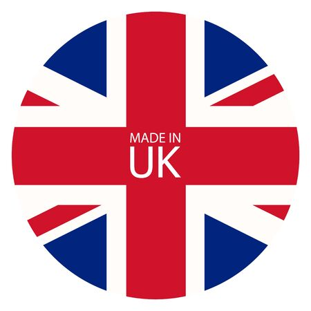 Made in Uk icon. United States of Great Britain flag made in sign, symbol Stock Photo