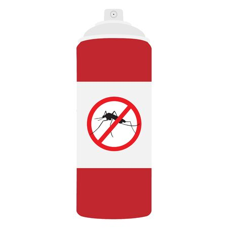 raster illustration mosquito spray bottle icon. Mosquito, insect stop sign