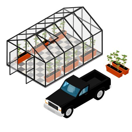 Greenhouse and pickup truck at an organic farm. Growing tomatoes isometric view. Glass house.