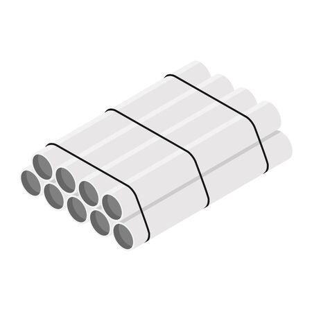 Steel or Aluminum pipes diameter isolated on white background. Industrial steel tubes Zdjęcie Seryjne
