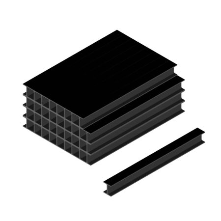 Stack of black steel beams isolated on white background isometric view. I beam or flange beam