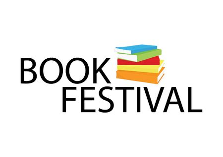 Book festival banner, poster stack of books. Reading book concept 版權商用圖片