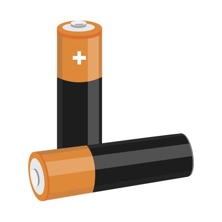 Two AA size batteries isolated on white backgraound. Standard-Bild