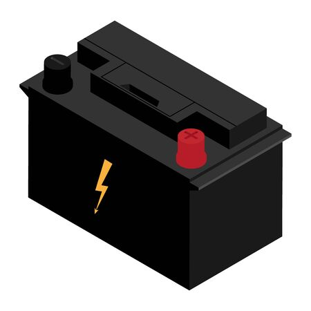 Car battery isolated on white background isometric view. Rechargeable Car Battery 12V Accumulator
