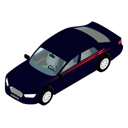 Isometric high quality city transport car icon blue sedan. For infographics, design and game