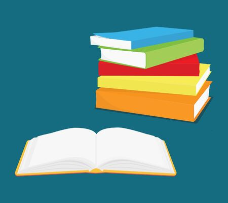 Reading concept, pile of books and opened book. Knowledge, learning and education design Stock Photo