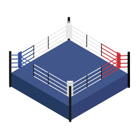 Empty boxing ring isometric view. Boxing ring ropes, platform for training