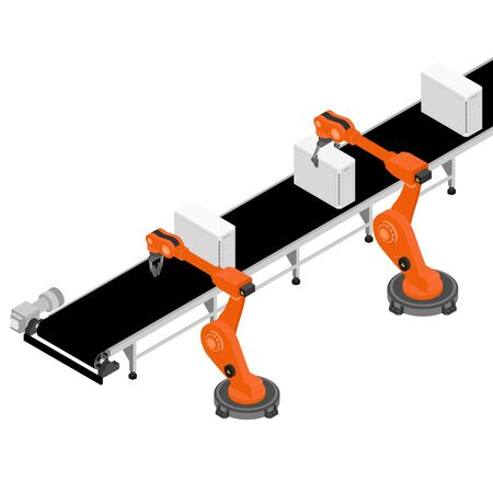 Assembly line with pc computers and automatic robotic arms industrial machine in a factory.